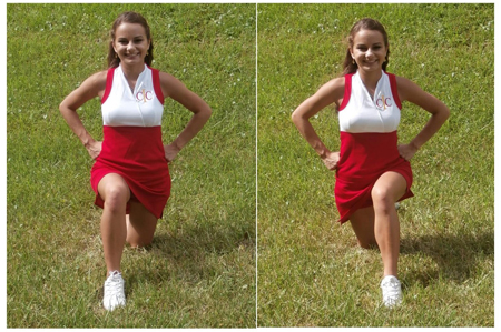 Cheerleading Foot Motions - Knees Lunges