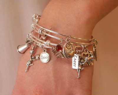 Cheerleading Bangle Charm Bracelet Stack